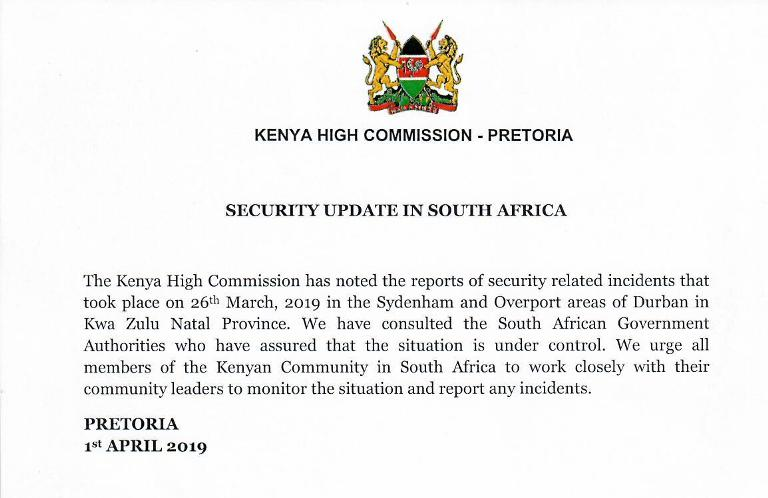 KENYA HIGH COMMISSION SOUTH AFRICA